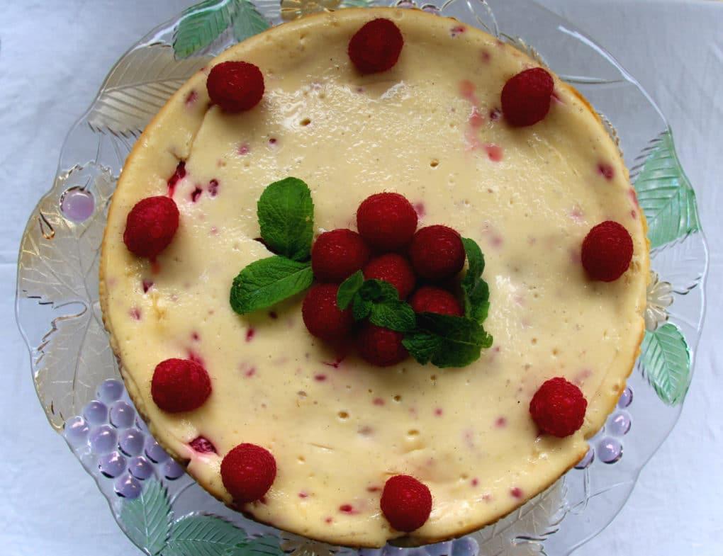 Gluten free baked Raspberry Cheesecake 12