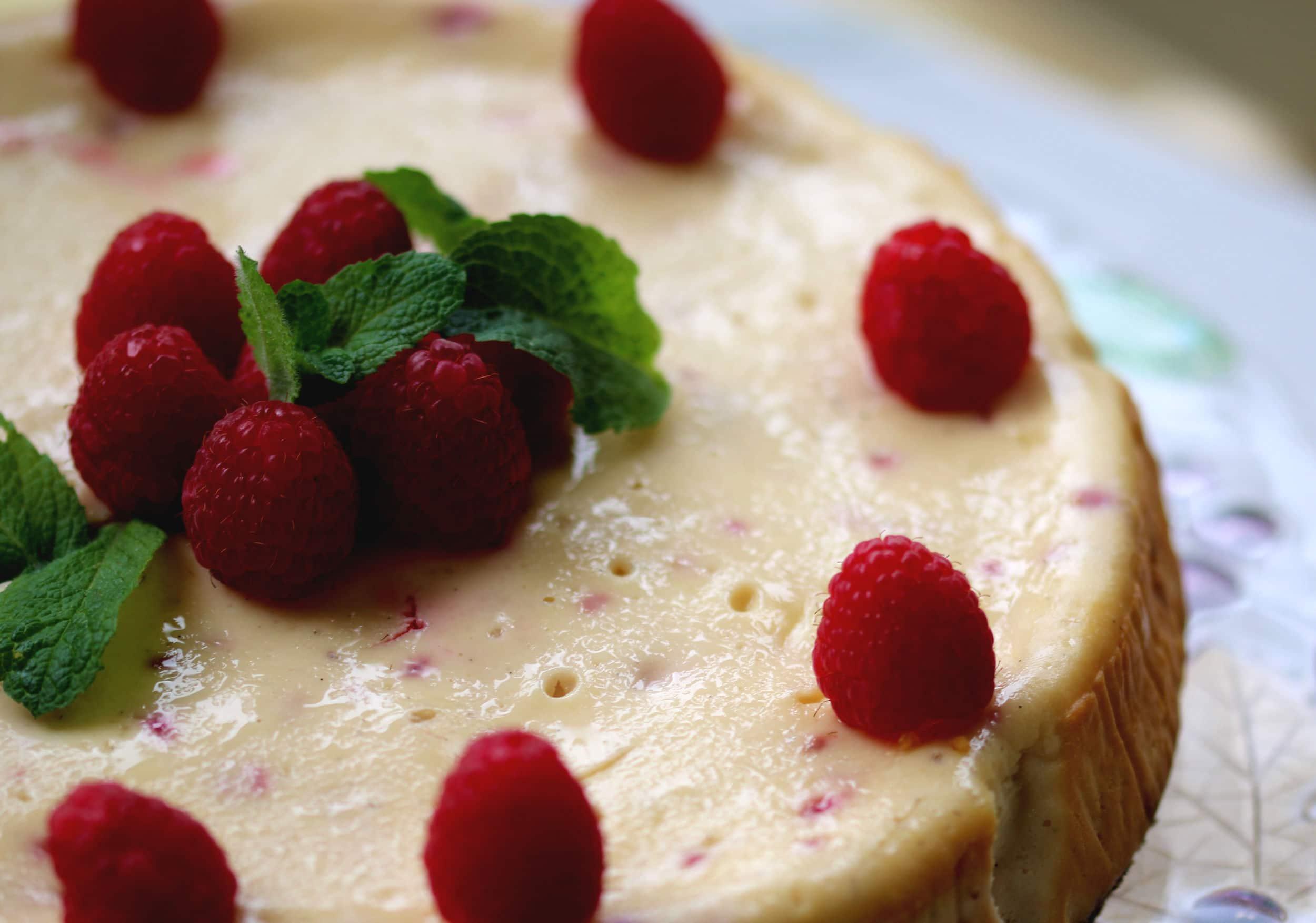 Gluten free baked Raspberry Cheesecake