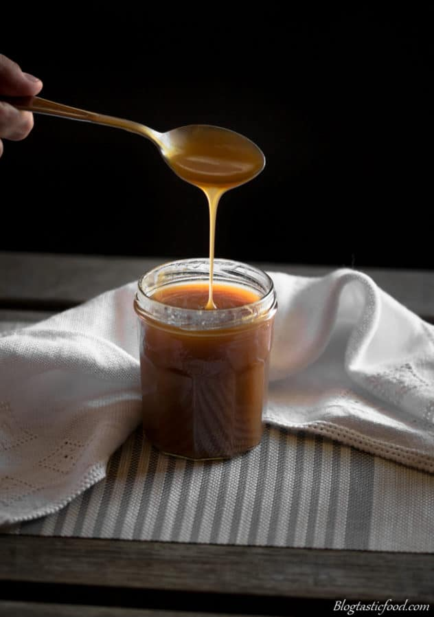 Rum flavoured salted caramel sauce drizzle