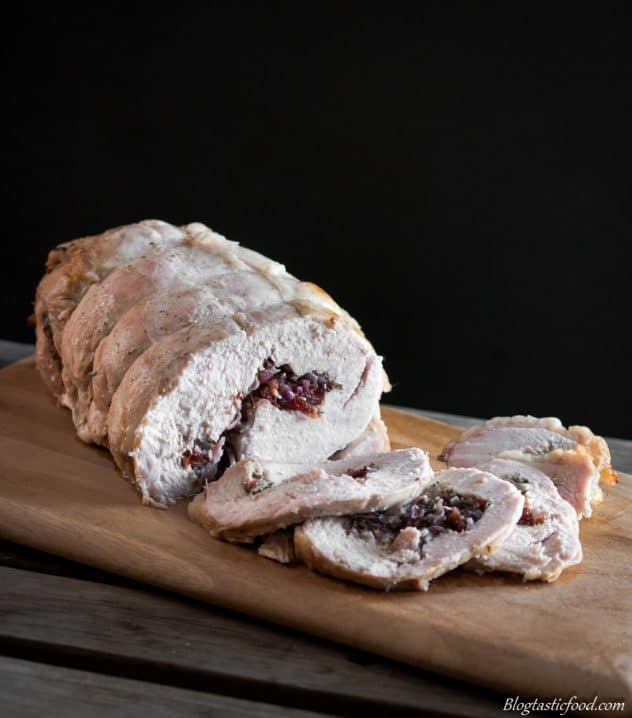 Christmas Brined Roasted Turkey Roll with Red Onion and Cranberry Stuffing