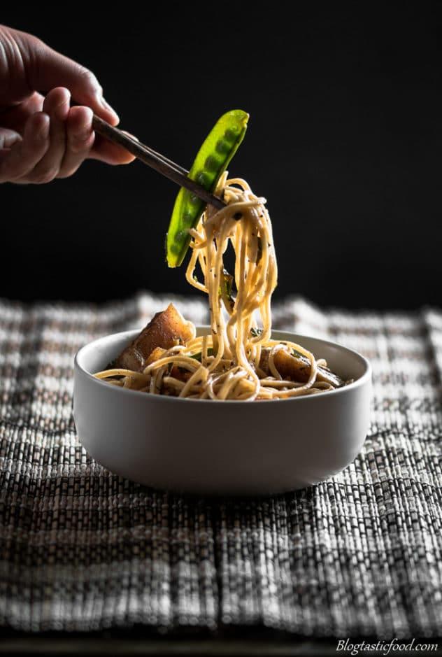 Pork belly ramen noodles