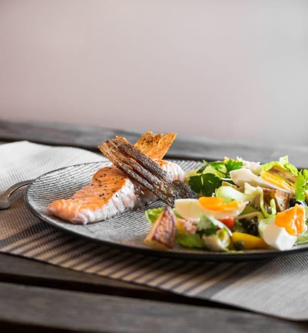Extra Crispy Salmon Nicoise Salad
