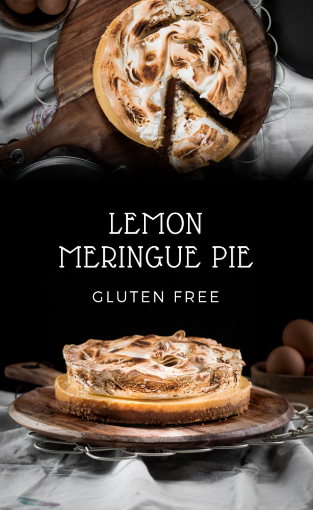 A gluten free lemon meringue pie presneted in the form of a pin for Pinterest.