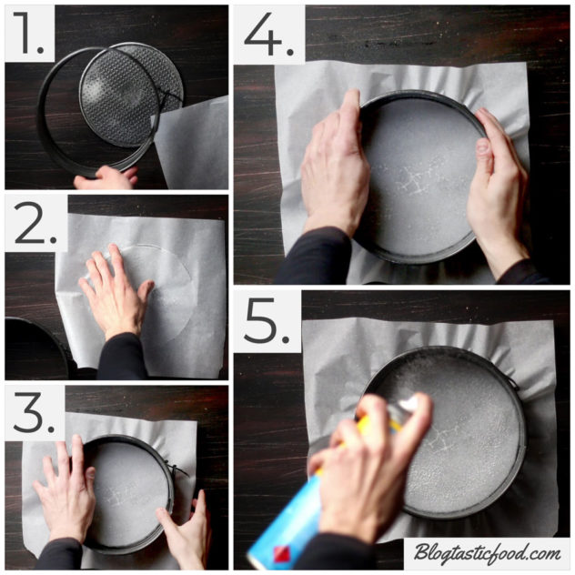 A step by step series of photos showing how to lay a sheet of baking paper over the surface of a removable cake tin.