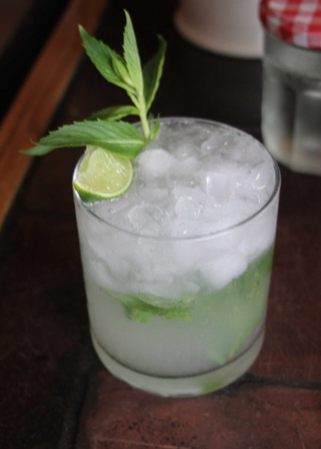 A photo of a mojito garnished with mint and a wedge of lime.
