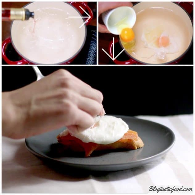 A step by step series of photos showing how to poach an egg.