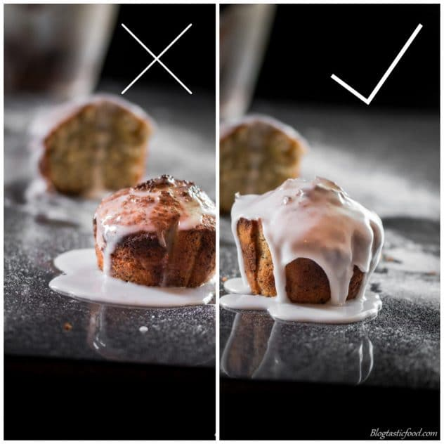 A collage of two photos. One showing an example of a badly iced muffin, and another photo showing an example of a well iced muffin.