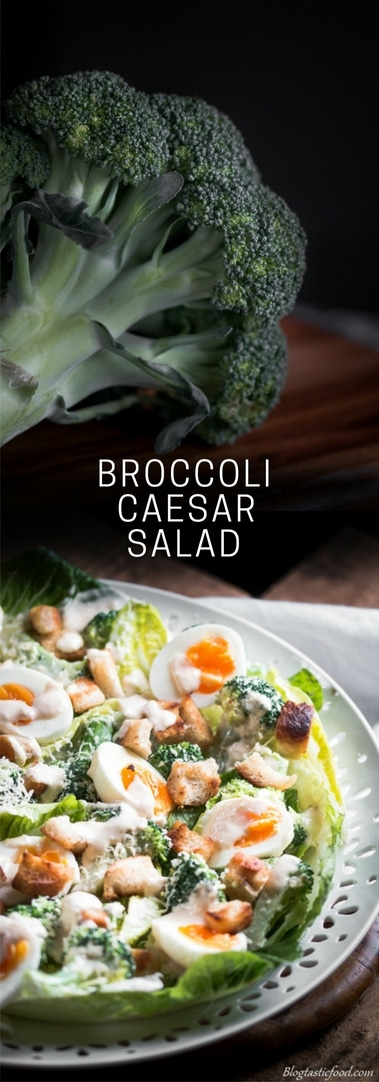 A broccoli Caesar salad recipe presented in the form of a pin for Pinterest.