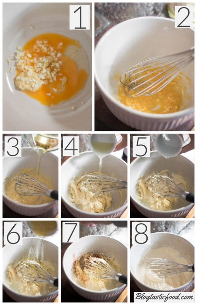 A step by step collage showing how to make spiced Caesar dressing.