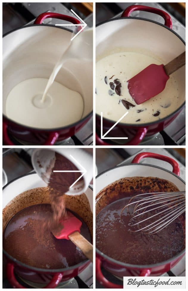 A step by step guide showing how to make a simple chocolate sauce.