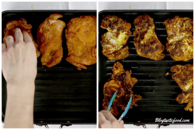 a collage of 2 photos showing morrocan spiced chicken thighs being grilled in a griddle pan.