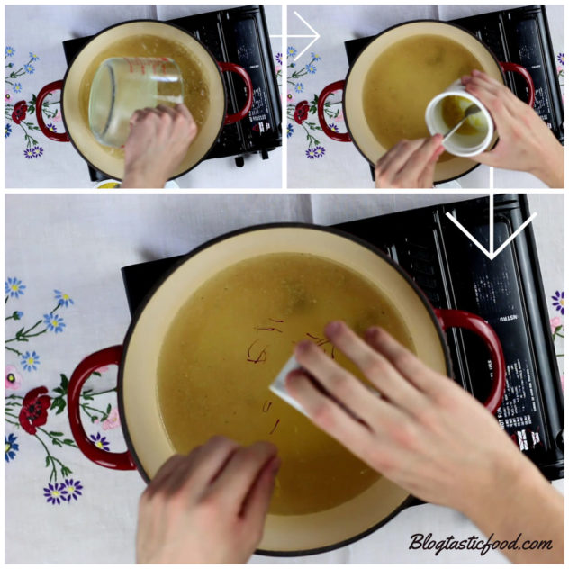 A collage of 3 photos showing someone putting chicken stock, lemon juice, lemon zest and saffron in a pot.