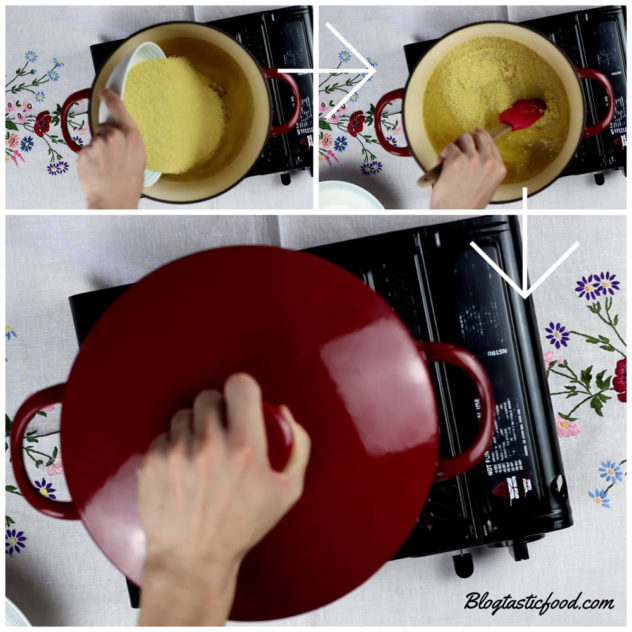 A collage of photo showing someone add couscous to a pot of chicken stock, stirring the ingredients and then covering them.