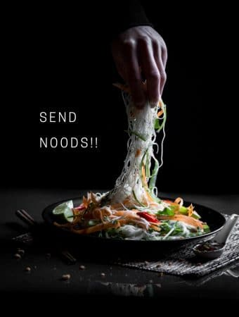 A photo of rice noodle salad with a pun beside it.