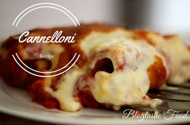 A cannelloni recipe presented in the form of a pin for Pinterest.