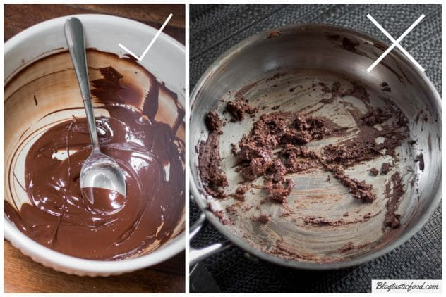 2 photos side by side, one showing a good example of melted chocolate, and one showing a bad example.
