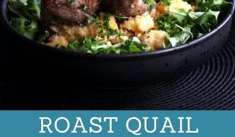 A roast quail with polenta recipe presented in the form of a pin for Pinterest.