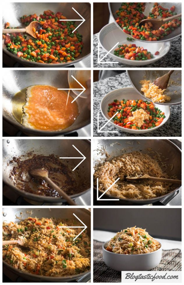 A series of images that show step by step guide on how to make vegetable fried rice.