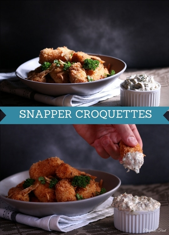 A snapper croquette recipe presented in the form of the pin for Pinterest.