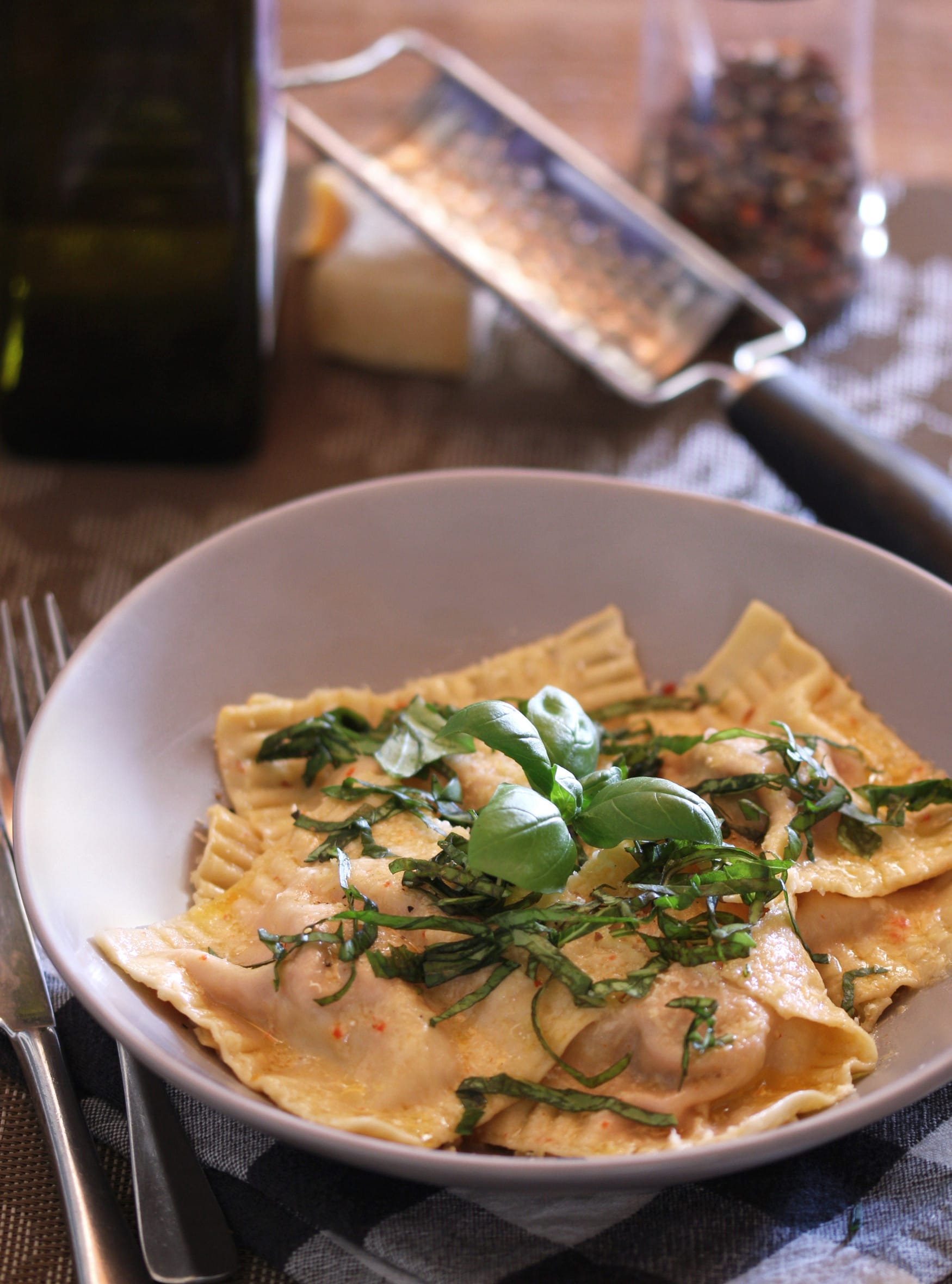 Pork sausage and red pepper ravioli with lemon butter sauce
