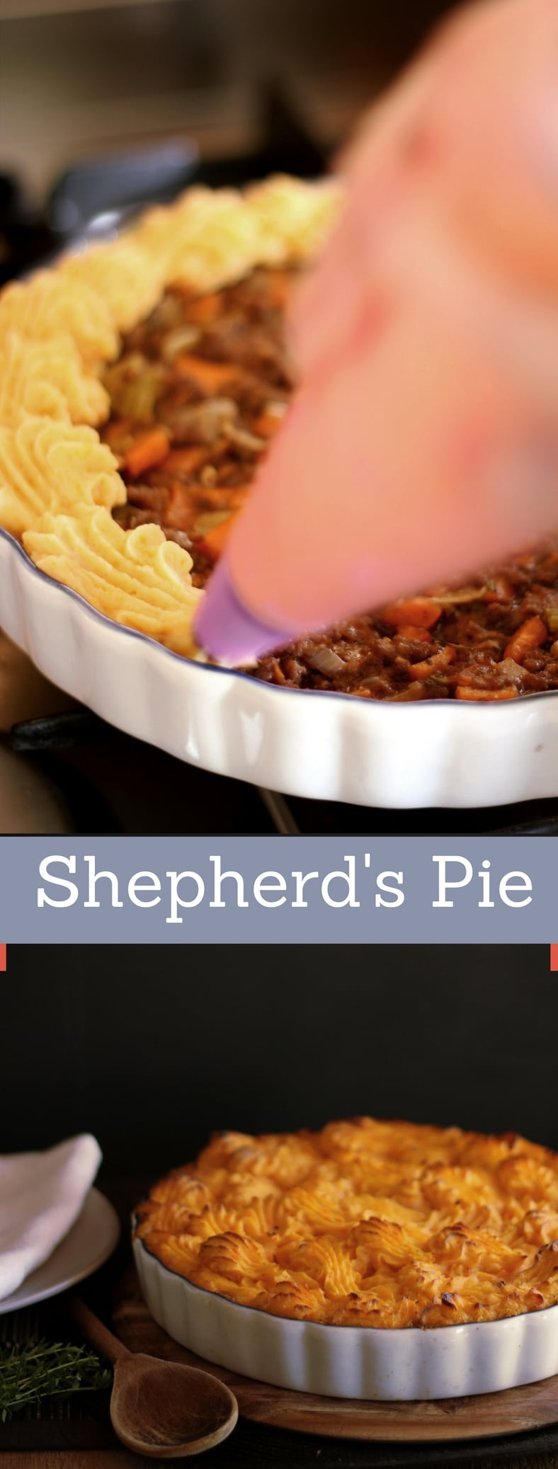 A potato and sweet potato shepherds pie recipe presented int he form of a pin for Pinterest.