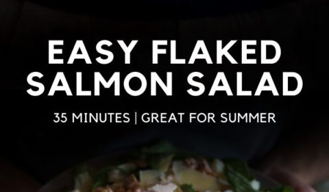 A flaked salmon salad recipe presented in the form of a pin for Pinterest.
