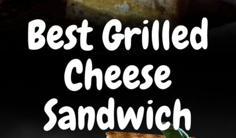 A grilled cheese sandwhich recipe presented in the form of a pin for Pinterest.