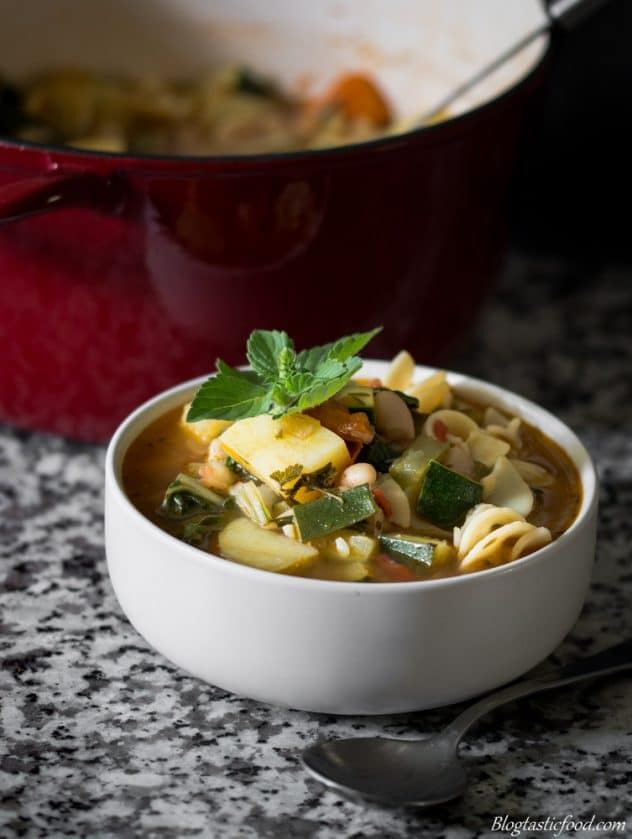 A photo of a white bowl filled with minestrone soup.
