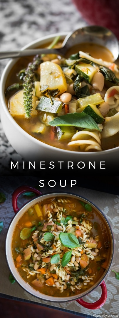 Minestrone soup presented in the form of a pin for Pinterest.