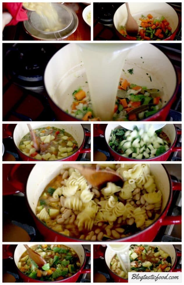 A step by step series of photo showing how to make a minestrone soup.