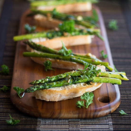 Cream Cheese and Pan Fried Asparagus on Toast
