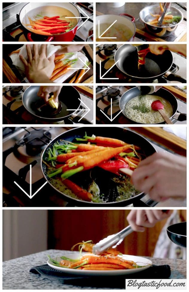 A step by step series of photos showing how to make baby glazed carrots.
