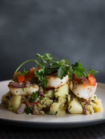 An eye level photo of crushed potatoes, seared scallops, fresh salsa and coriander.