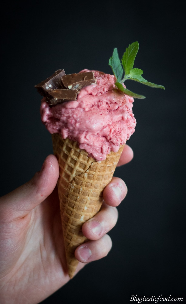 A waffle cone filled with strawberry and vodka ice-cream garnished with mint.