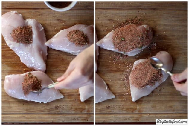 A collage of 2 photos showing someone adding and rubbing Cajun spice mix over chicken breasts.