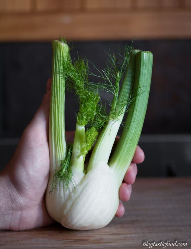 Someone holding a bulb of fennel on a board.