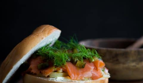 A bagel burger filled with smoked trout and fennel.