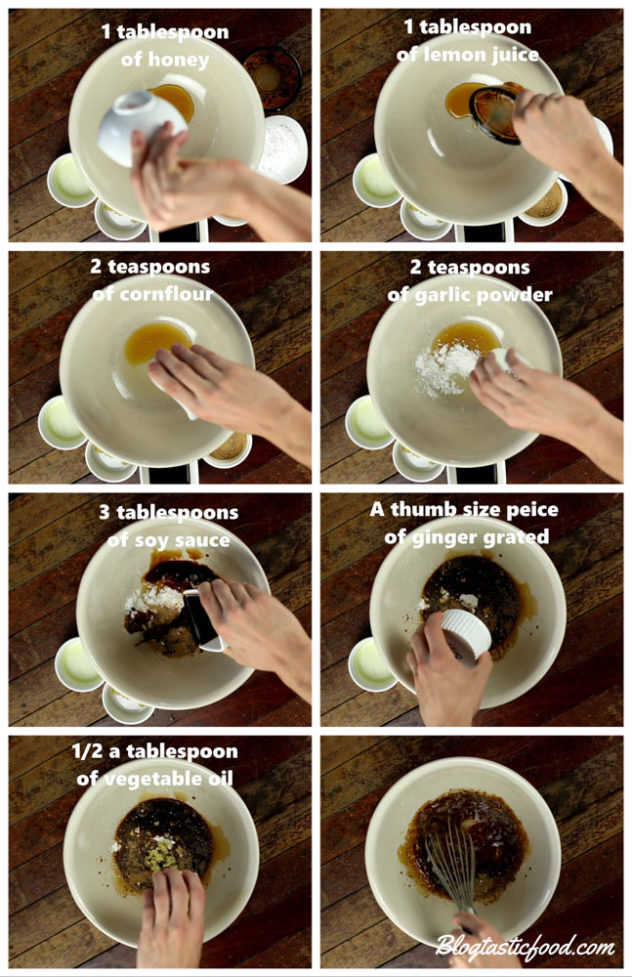 a step by step series of photos showing how to make a teriyaki marinade.