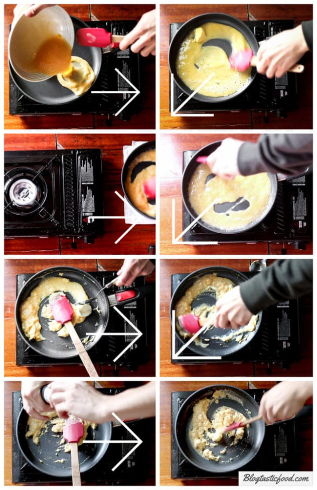 A step by step series of photos demonstrating how to cook scrambled eggs.