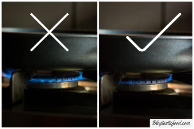 2 photos side by side presented as a collage, one photo of a stove on high flame with a cross on it, and one with the stove on low flame with a tick on it.