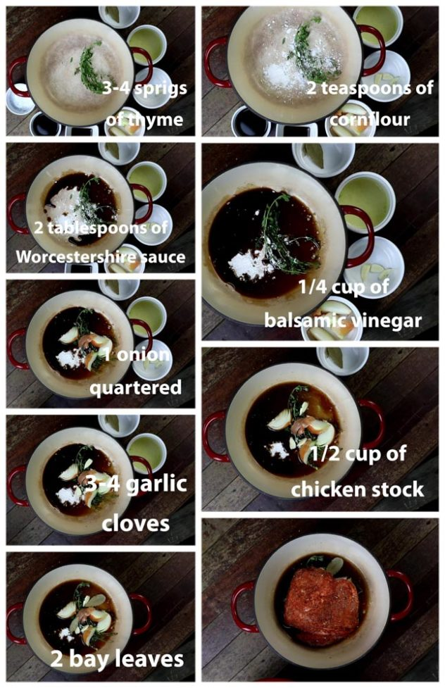 A step by step series of photo showing different aromatics an condiments going into a pot before pork shoulder is placed on top.
