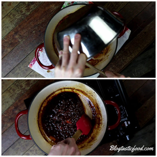 a collage of 2 photos showing liquid being transferred from a bowl to a pot, then the liquid being simmered into a sauce.
