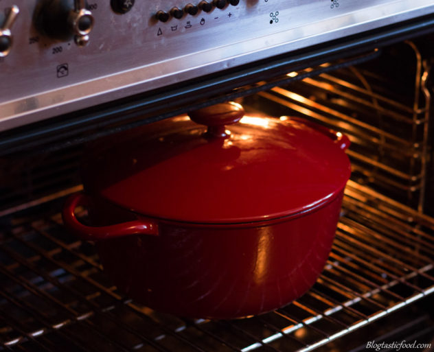 A red pot going in an oven with the door open.