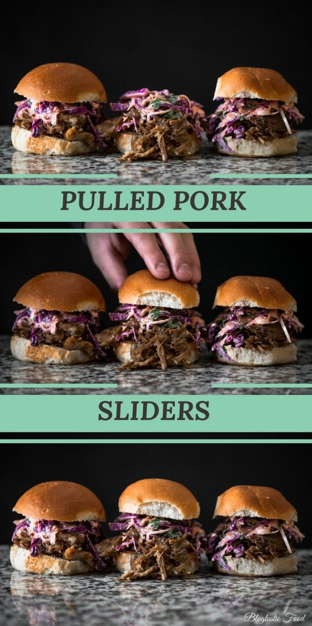 A pulled pork slider with lemon and yogurt coleslaw recipe presented in the form of a pin for Pinterest.