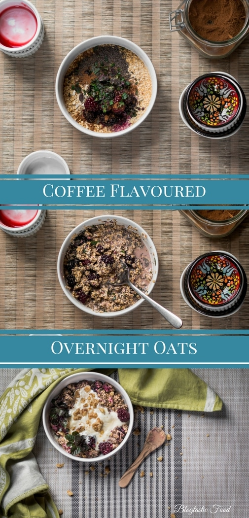 A coffee flavoured overnight oats recipe presented in the form of a pin for Pinterest.