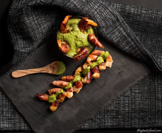 These amazing prosciutto wrapped prawns are great to serve to guests as a starter, leaving them wanting more. And the pesto dip just gives a bit of extra love.