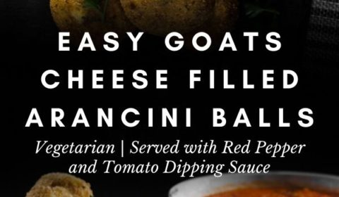 An arancini balls recipe presented in the form of a pin for Pinterest.