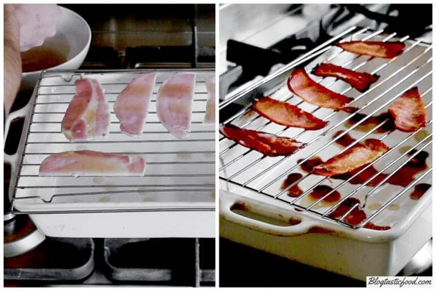 2 images showing bacon coated in maple syrup go from soft to crispy.