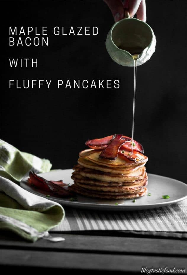 A Maple Bacon with fluffy pancake recipe presented in the form of a pin for Pinterest