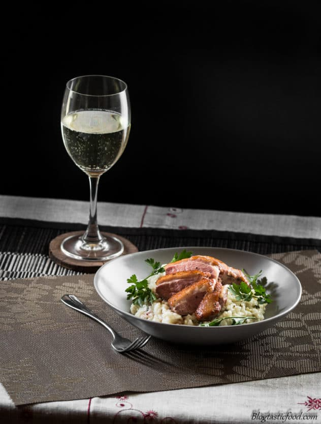 This pan-seared duck breast on risotto is simple and stress-free, along with being dang tasty.